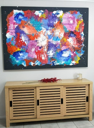 (CreativeWork) Dancing With Colour by Kelly Hinds. Acrylic Paint. Shop online at Bluethumb.