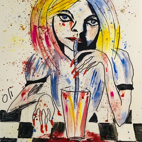 (CreativeWork) Malice and her milkshake by Olwyn (Oli) Conrau. Mixed Media. Shop online at Bluethumb.
