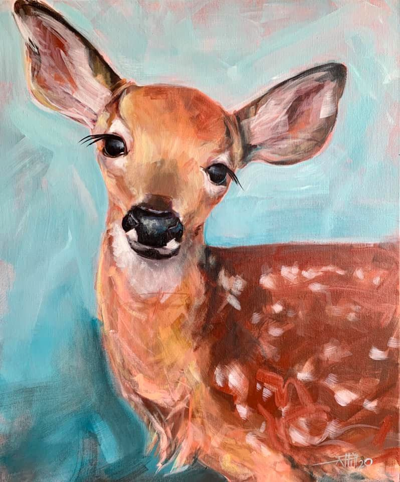 (CreativeWork) Spotted Doe - Nina by Rebecca Hill. Acrylic Paint. Shop online at Bluethumb.
