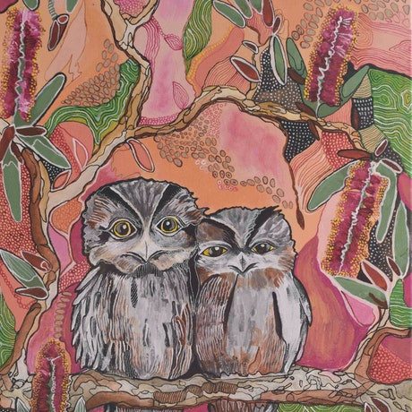 (CreativeWork) Commission for Ann, Tawny Frogmouth Chicks by Naomi Malone. Acrylic Paint. Shop online at Bluethumb.