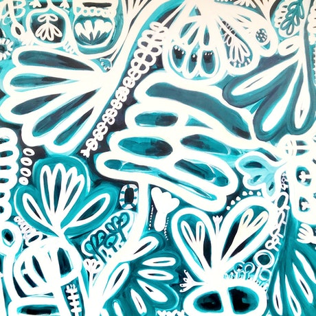 (CreativeWork) White Garden IV by Sarah Morrow. Acrylic Paint. Shop online at Bluethumb.