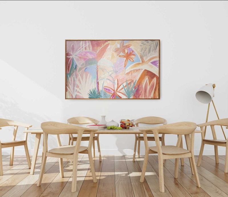 (CreativeWork) Tropical Sun Shower - Framed by Claire Cooper. Acrylic Paint. Shop online at Bluethumb.