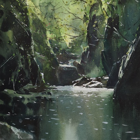 (CreativeWork) MOUNTAIN CREEKS 2 by jianqiang xu. Watercolour Paint. Shop online at Bluethumb.