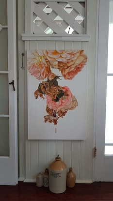 (CreativeWork) the rose by Claire Souter. Oil Paint. Shop online at Bluethumb.