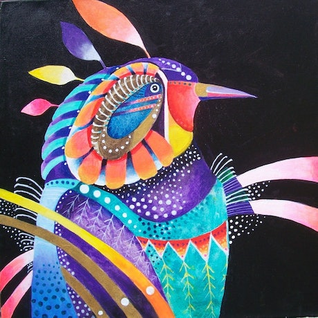 (CreativeWork) Rainbow parrot by Anne Tompson. Acrylic Paint. Shop online at Bluethumb.