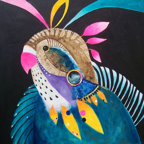 (CreativeWork) Parot with Gold Earing by Anne Tompson. Acrylic Paint. Shop online at Bluethumb.