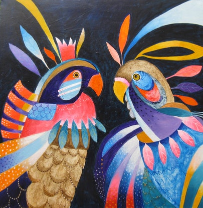 (CreativeWork) Two Fantastical Parrots by Anne Tompson. Acrylic Paint. Shop online at Bluethumb.