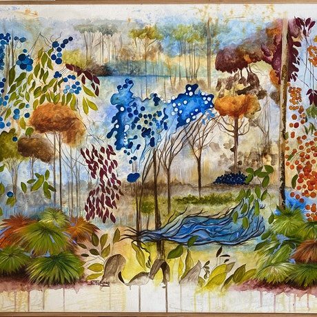 (CreativeWork) Australian Bushland by Jess King. Other Media. Shop online at Bluethumb.