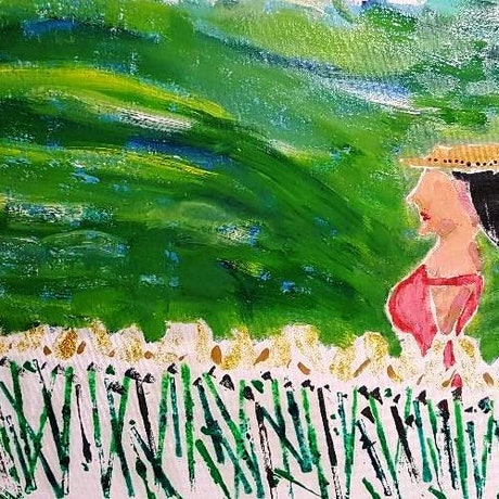 (CreativeWork) Woman in field 2 by BRENT JAMES HAVILL (BRENO). Oil Paint. Shop online at Bluethumb.