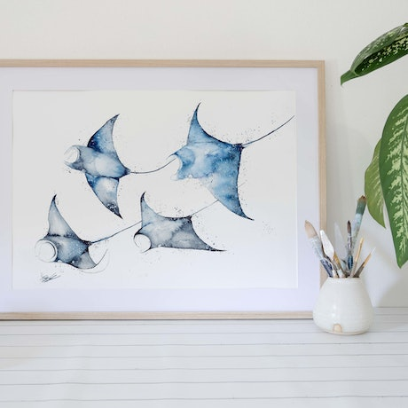 (CreativeWork) Manta Rays for Days by Stephanie Elizabeth. Watercolour Paint. Shop online at Bluethumb.
