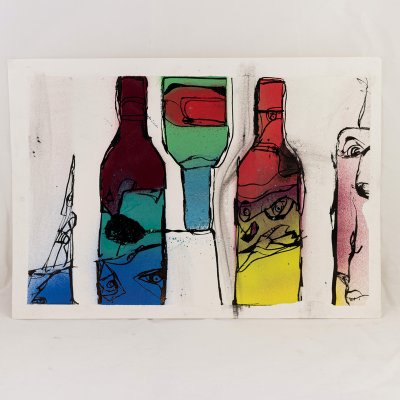 (CreativeWork) Wine Faces | Douglas Stewart | Figment Series | 2019 |  by Douglas Stewart. Acrylic Paint. Shop online at Bluethumb.