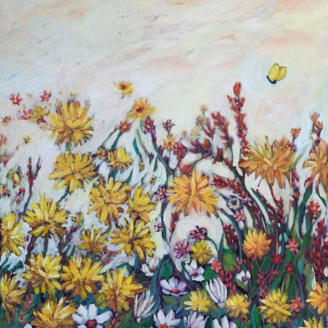 (CreativeWork) Sun Kissed Field by Wendy Bache. Oil Paint. Shop online at Bluethumb.
