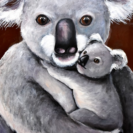 (CreativeWork) Koala Joey Cuddles by Emilia Rebelo. Acrylic Paint. Shop online at Bluethumb.