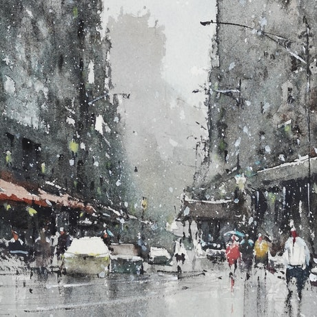 (CreativeWork) In The Snow by jianqiang xu. Watercolour Paint. Shop online at Bluethumb.