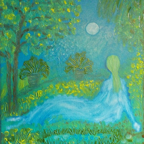 """(CreativeWork)  """"In her quiet garden"""" by Catherine Walker. Acrylic Paint. Shop online at Bluethumb."""
