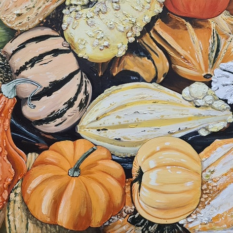 Different shaped Gourds, Different textures, colours and shapes but all Gourds, very bright and vibrant.