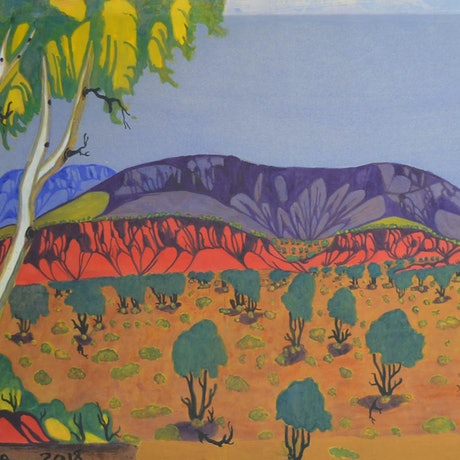 (CreativeWork) Rwetyepme/Mt Sonder, Central Australia #809-18 by Mervyn Rubuntja. Watercolour Paint. Shop online at Bluethumb.