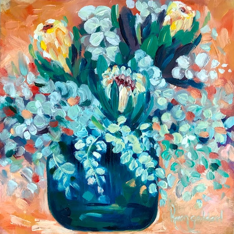 (CreativeWork) Native bouquet - Mini Nbr 1 by Karen Goddard. Oil Paint. Shop online at Bluethumb.