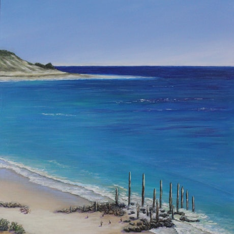 (CreativeWork) The Sticks at Port Willunga - Framed by Deb Clancy. Acrylic Paint. Shop online at Bluethumb.