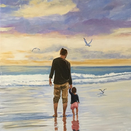 (CreativeWork) Father and Child by Robyn Gray. Acrylic Paint. Shop online at Bluethumb.