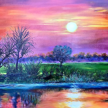 (CreativeWork) Kakadu Sunset by Sharon DeSailly. Oil Paint. Shop online at Bluethumb.
