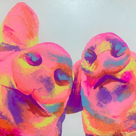 (CreativeWork) Piggy Perfect by Luke Martin. Acrylic Paint. Shop online at Bluethumb.