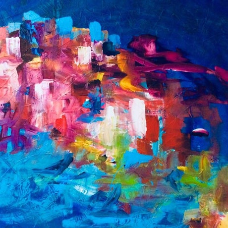 (CreativeWork) Corfu Heat by Terina Jones. Acrylic Paint. Shop online at Bluethumb.