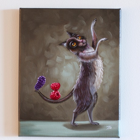(CreativeWork) Dancing Cat  by Yulia Pustoshkina. Oil Paint. Shop online at Bluethumb.