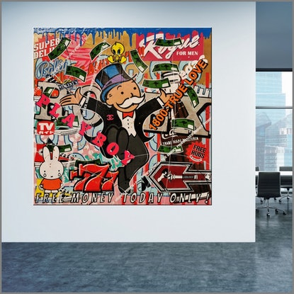 (CreativeWork) Monopoly Man - Free Money 120cm x 120cm Monopoly Man Urban Pop Art Textured Acrylic Gloss Finish FRANKO by _Franko _. Mixed Media. Shop online at Bluethumb.