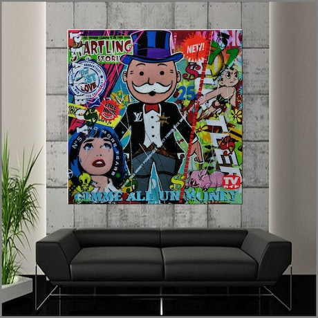 (CreativeWork) The Banker Outlaw 120cm x 120cm Monopoly Man Urban Pop Art Textured Acrylic Gloss Finish FRANKO by _Franko _. Mixed Media. Shop online at Bluethumb.