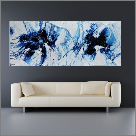 (CreativeWork) Opposing Midnights 200cm x 80cm Blue White Textured Acrylic Gloss Finish Abstract Franko by _Franko _. Acrylic Paint. Shop online at Bluethumb.