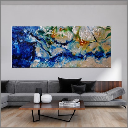 (CreativeWork) Natures Bloom 240cm x 100cm Blue Cream Green Textured Acrylic Gloss Finish Abstract Franko by _Franko _. Acrylic Paint. Shop online at Bluethumb.