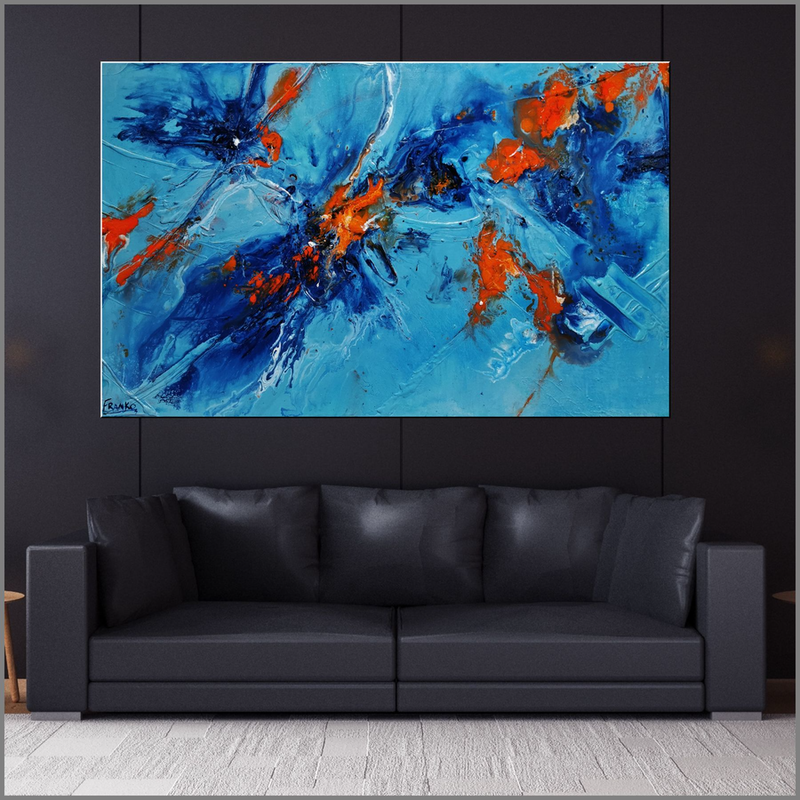 (CreativeWork) Midday Sunrise 160cm x 100cm Blue Orange Textured Acrylic Gloss Finish Abstract Franko by _Franko _. Acrylic Paint. Shop online at Bluethumb.