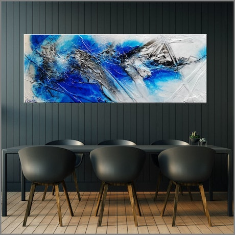 (CreativeWork) Jetted Atmosphere 160cm x 60cm Blue White Textured Acrylic Gloss Finish Abstract Franko by _Franko _. Acrylic Paint. Shop online at Bluethumb.