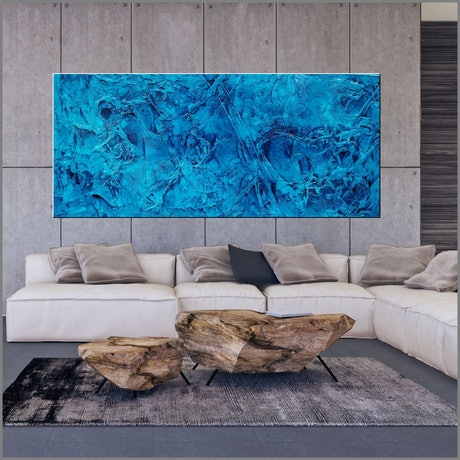(CreativeWork) Pure Cobalt Ink 270cm x 120cm Blue Ink Textured Acrylic Gloss Finish Abstract Franko by _Franko _. Acrylic Paint. Shop online at Bluethumb.