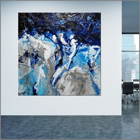 (CreativeWork) Coastal Significance 150cm x 150cm Blue Textured Acrylic Gloss Finish Abstract Franko by _Franko _. Acrylic Paint. Shop online at Bluethumb.
