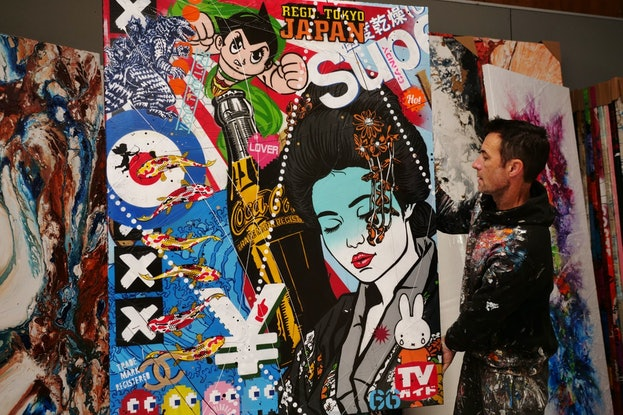 (CreativeWork) Pop Geisha 120cm x 150cm Japanese Geisha Urban Pop Art Textured Acrylic Gloss Finish FRANKO by _Franko _. Mixed Media. Shop online at Bluethumb.