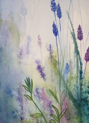 (CreativeWork) Lavender Blue, Dilly Dilly  by Lucinda Leveille. Watercolour Paint. Shop online at Bluethumb.