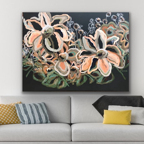 (CreativeWork) Bella Sun - Flowers Give Happiness - Abstract by Jen Shewring. Acrylic Paint. Shop online at Bluethumb.