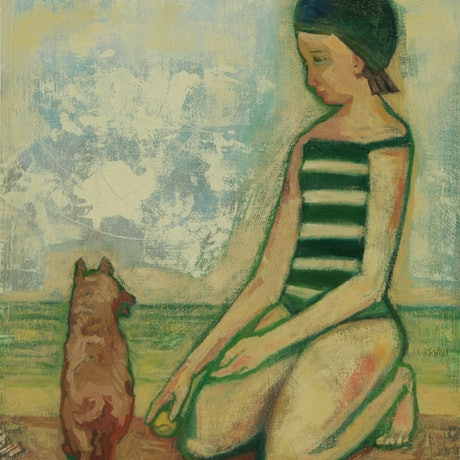 (CreativeWork) Girl with Puppy by Tetyana Khytko. Oil Paint. Shop online at Bluethumb.