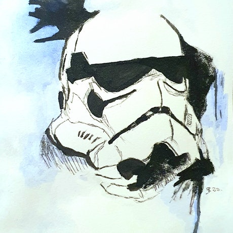 (CreativeWork) STORMTROOPER by Rebecca lam. Watercolour Paint. Shop online at Bluethumb.