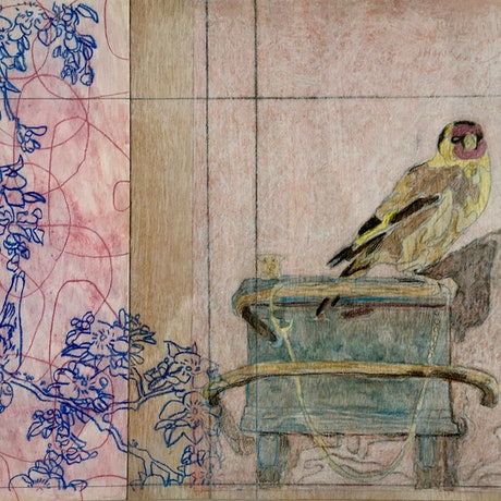 (CreativeWork) Two Bird's- Hokusai and Fabritius by Ray David. Mixed Media. Shop online at Bluethumb.