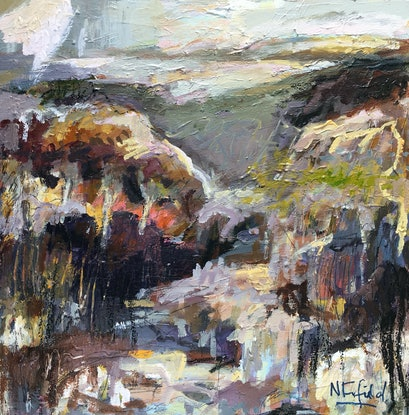 (CreativeWork) A Hike and a Slice by Nicole Fearfield. Acrylic Paint. Shop online at Bluethumb.