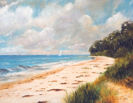 (CreativeWork) Mollymook by Craig Taylor. Oil Paint. Shop online at Bluethumb.