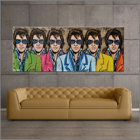 (CreativeWork) The 6 Faces of Elvis 200cm x 80cm Elvis Presley Industrial Concrete! Urban Pop art FRANKO by _Franko _. Mixed Media. Shop online at Bluethumb.