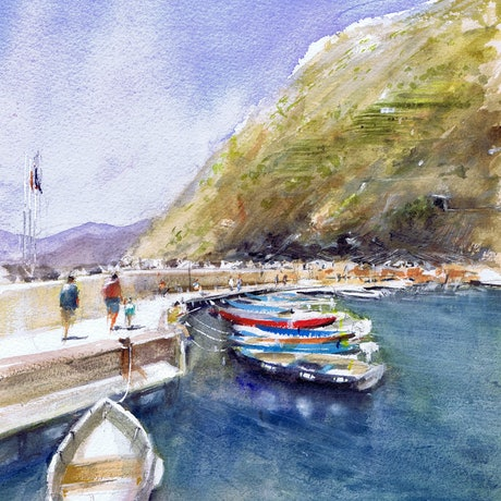 (CreativeWork) Vernazza Harbour , Cinque Terre , Italy  by Geoff Stanistreet. Watercolour Paint. Shop online at Bluethumb.