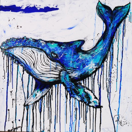 (CreativeWork) whale's Play 1 by Kelly-Anne Love. Acrylic Paint. Shop online at Bluethumb.