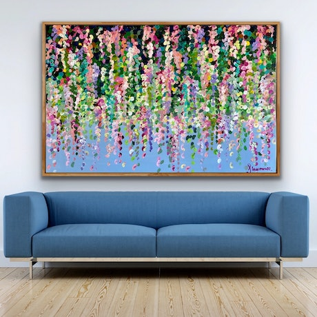(CreativeWork) Pink wisteria on blue 153x102 framed large textured abstract floral by Sophie Lawrence. Acrylic Paint. Shop online at Bluethumb.