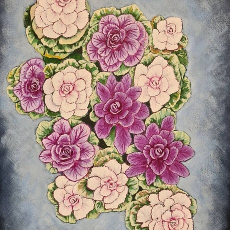 Pink and white flowers with faded out background. Realistic painting of the flowers as seen in Japan.