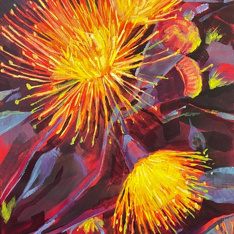 (CreativeWork) Aflame  by Kate Gradwell. Acrylic Paint. Shop online at Bluethumb.